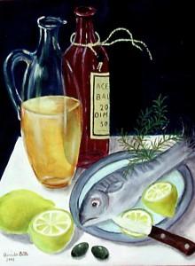 Stilleben mit Fisch